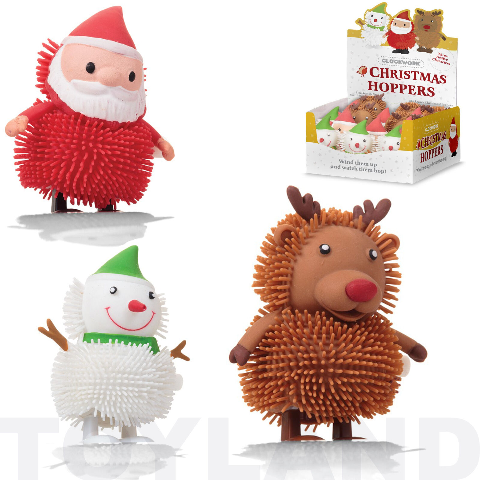 christmas hoppers reindeer santa snowman clockwork toy boy girls