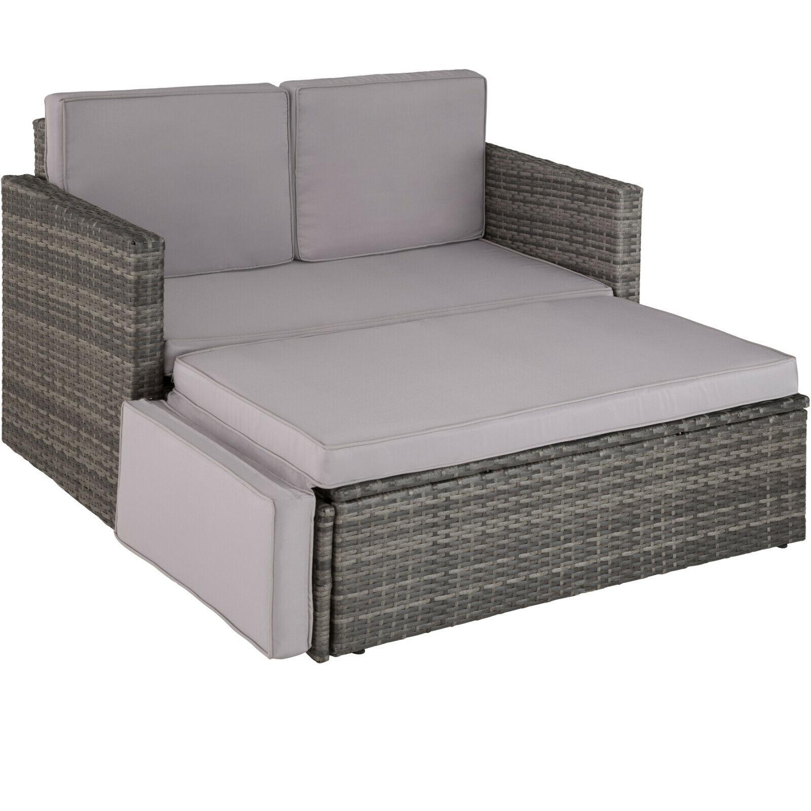 Poly Rattan Lounge Set Sitzgruppe Garten Sofa Couch Ottomane Hocker grau BWare