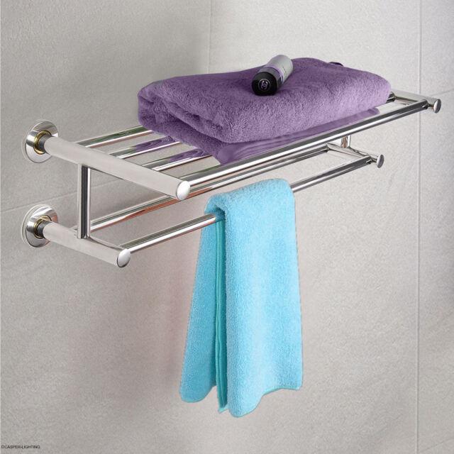 Double Towel Rail Holder Wall Mounted Bathroom Rack Shelf Stainless Steel Fds Uk
