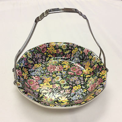 VTG Heritage Genuine Platignum Finish Made in England Black floral Basket bowl