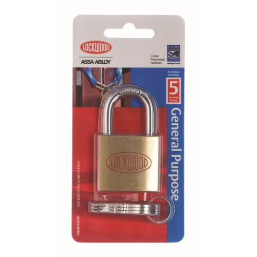 Lockwood GENERAL PURPOSE PADLOCK 40mm Solid Brass Self Latching- Made in Aust