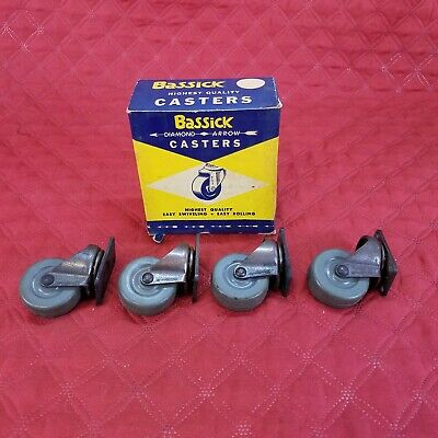 4 Vtg Industrial Caster Baco Wheels Bassick 1 34 No 8706 Soft Rubber Tread