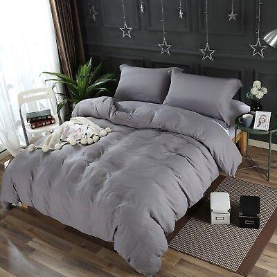 Dark Gray Washed Microfiber Set:1 Duvet Cover 2 Pillow Shams Queen/King/Cal K