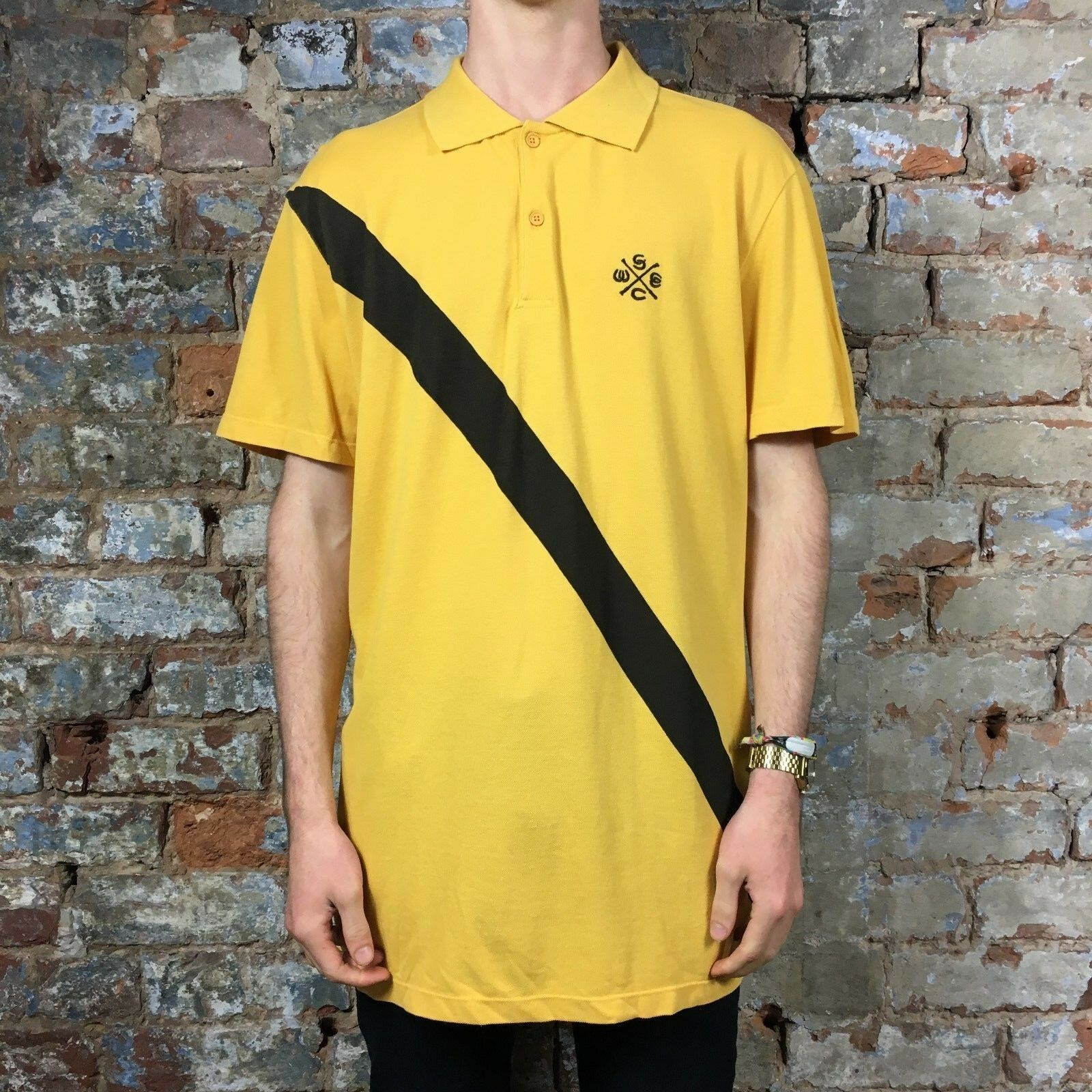 ccfa02001 Details about WESC Brent Short Sleeve Polo T-Shirt in Yellow Brand New in  size S