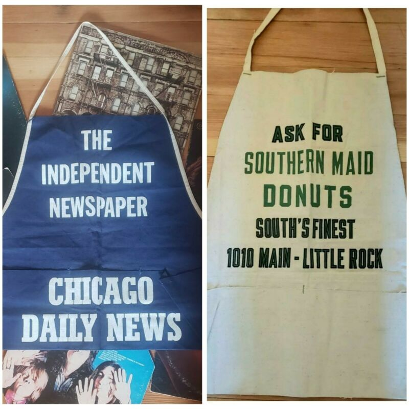 lot 2 vintage 60s 70s advertising aprons Chicago Daily News newspaper AR donut