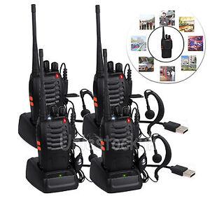 4PCS Walkie Talkie 2Way Radio UHF 400-470MHZ 16CH 5W Long Range Earpiece Headset