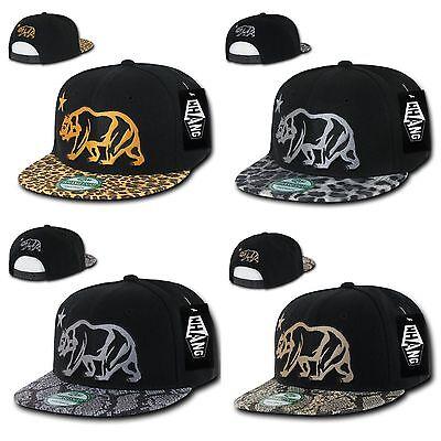 Animal Skin Hats (Animal Leopard Snake Skin California Cali Republic Bear Snapback Hats)