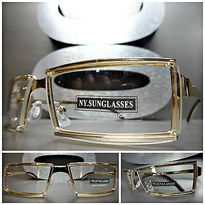 Men's UNIQUE CONTEMPORARY MODERN Style Clear Lens EYE GLASSES Gold Metal (Contemporary Glasses Frames)