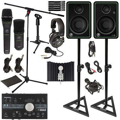 Mackie Studio Bundle CR3-X Monitors Microphones Audio Recording Interface w Sta
