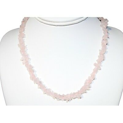 "CHARGED Premium Rose Quartz Crystal Chip Necklace + 18"" REIKI WOW!!!"