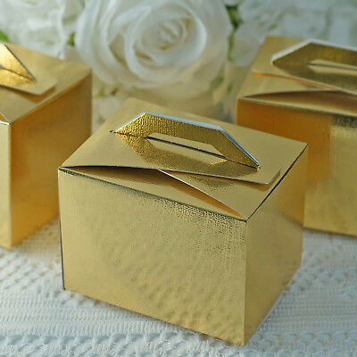 100 pcs Gold Tote Boxes with Handles for Wedding Favors Party Decorations SALE - Wedding Boxes For Favors