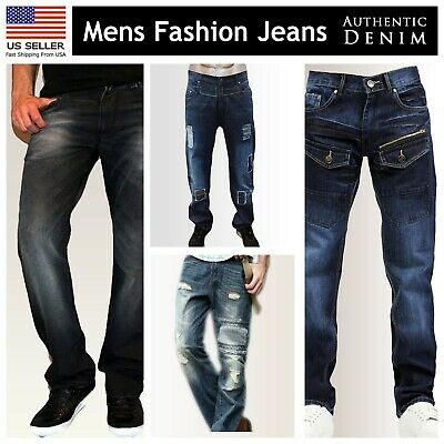 Leg Denim Trousers (Mens Regular Fit Faded Ripped Jeans Straight Leg Distressed Denim Trousers )