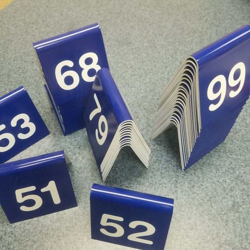 Table Tent Numbers Blue  Restaurant Durable 51-99