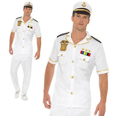 Captain Costume Officer Sailor Uniform Military Adult Mens Fancy Dress Outfit
