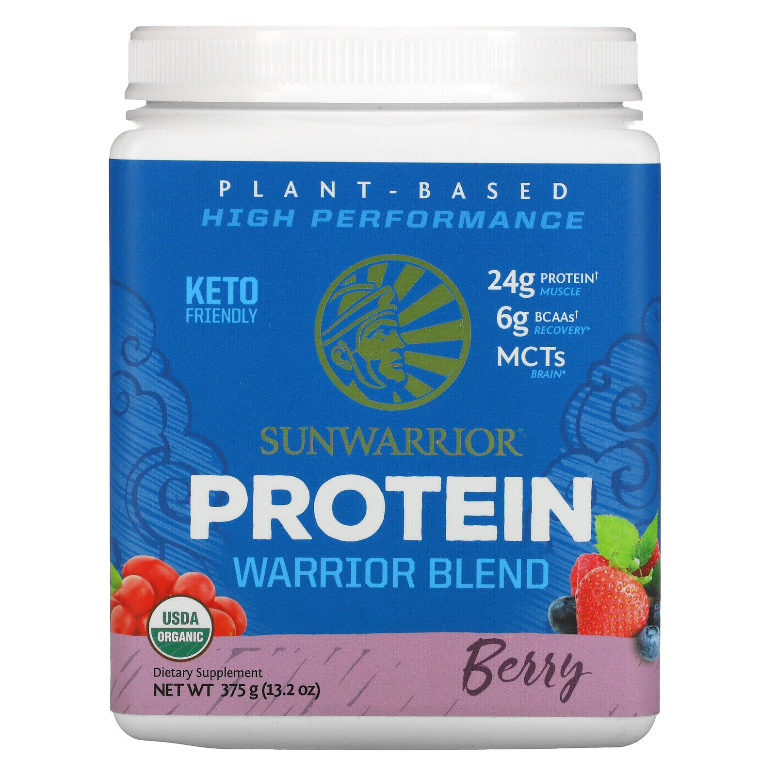 Warrior Blend Protein, Organic Plant-Based, Berry, 13.2 oz (375 g)