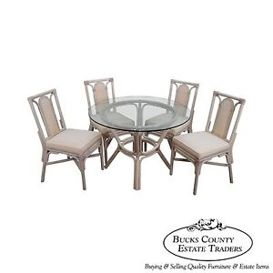 rattan bamboo round glass top dining table 4 chair set. Black Bedroom Furniture Sets. Home Design Ideas