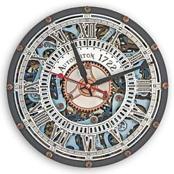 Automaton Skeleton 1722 Sky Pastel moving gears unique steampunk wall clock