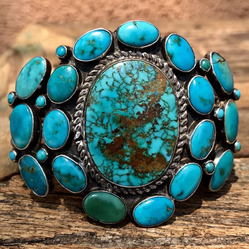 1930 #8 and Blue Gem Navajo Native American Turquoise Silver Ingot Cuff Bracelet