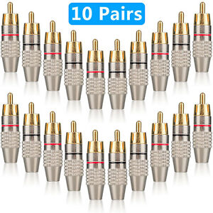 20-pack RCA Male Plug Solder Free Gold Plated Audio Video Adapter Connector