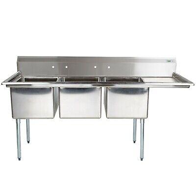 Nsf Three 3 Compartment Sink Right Drain Board 26x87 Bowl Size 20x20