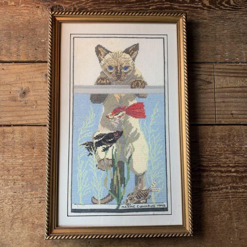 "Vintage Siamese Cat Framed Needlepoint - 18"" x 11.5"" - Fish Aquarium - Excellent"