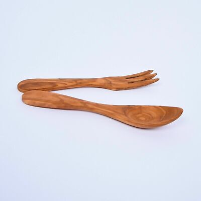 Salad Server Set (Fork + Spoon) Made of Olive Wood - 17 cm / 6.69