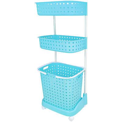 3 Tier Rolling Laundry Basket W/ Shelves Storage Organizer for Detergent Blue Home & Garden