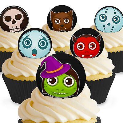 Kuchen Dekoration Halloween (Cakeshop 12 x Essbare Gruselige Monster Halloween Kuchen Dekoration)