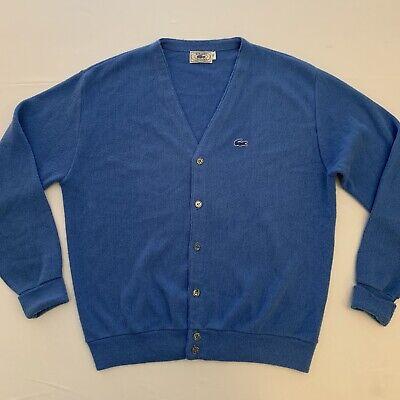 Izod Lacoste Vintage Cardigan Sweater Blue XL Orlon Acrylic Button-up Nice!!