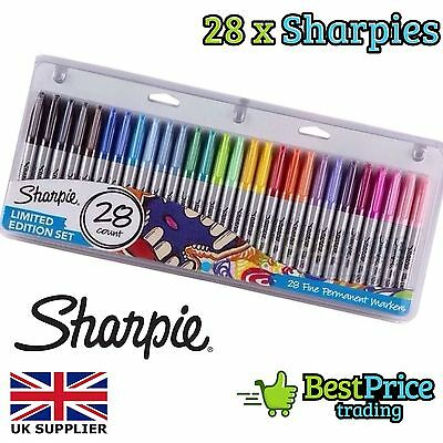 Sharpie 28 Pack Fine Permanent Markers Pens Limited Edition Set *Work School