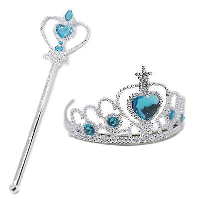 Frozen Principessa Regina Anna Elsa BACCHETTA + TIARA CORONA TRAVESTIMENTO