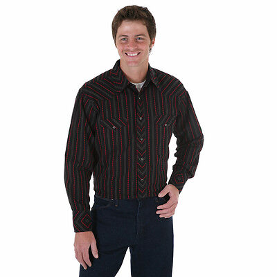 WRANGLER Mens DOBBY STRIPE Shirt - M -Black Red Gray Long Sleeve- NEW - 75952BK