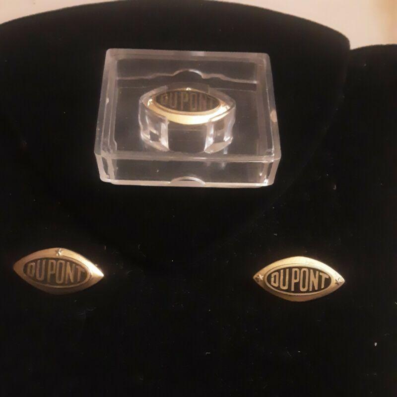Vintage Dupont 14k Gold Service Pins 1, 2, 3 Star Lot Of 3