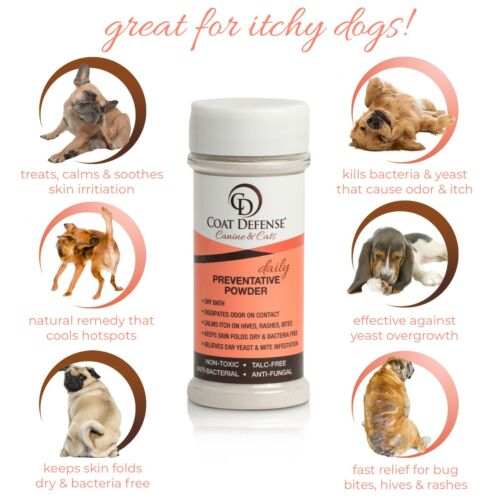 COAT DEFENSE Canine & Cat Daily Preventative Powder   Made In USA