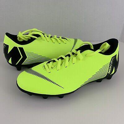 Nike Mercurial Vapor 12 Club MG/FG Soccer Cleats Volt Black AH7378-701 M 6.5 W 8