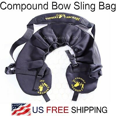 - Compound Bow Sling Bag w.  Belt Black String Holder Case Archery Carrier Bag