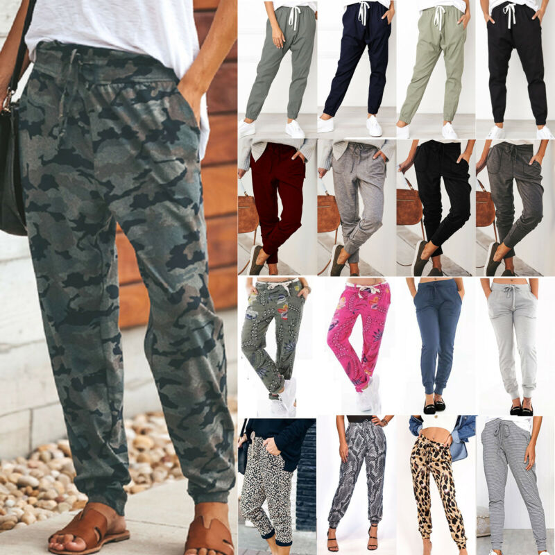 Womens Joggers Trousers Tracksuit Bottoms Elastic Waist Gym