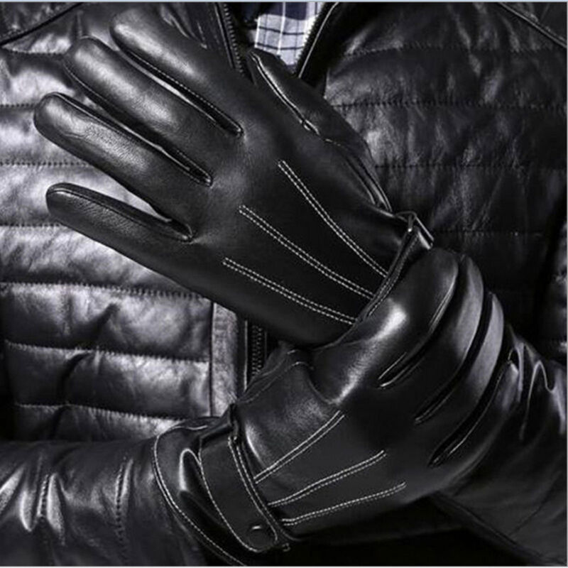 Mens Touch Screen Gloves Leather Thermal Lined Phone Texting Gloves Xmas Gift