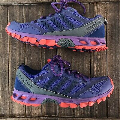 ADIDAS Kanadia TR5 Boys Purple Sports Running Shoes Trial Trainers UK 4