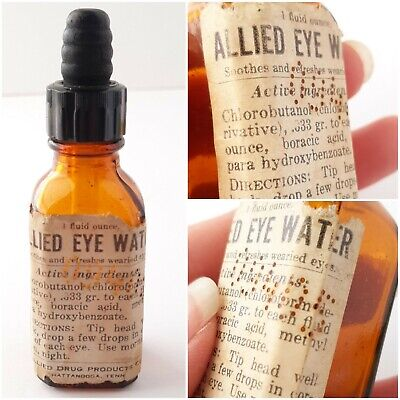 Vintage 1927 Allied Drug Products Eye Water Dropper Amber Bottle Chattanooga TN