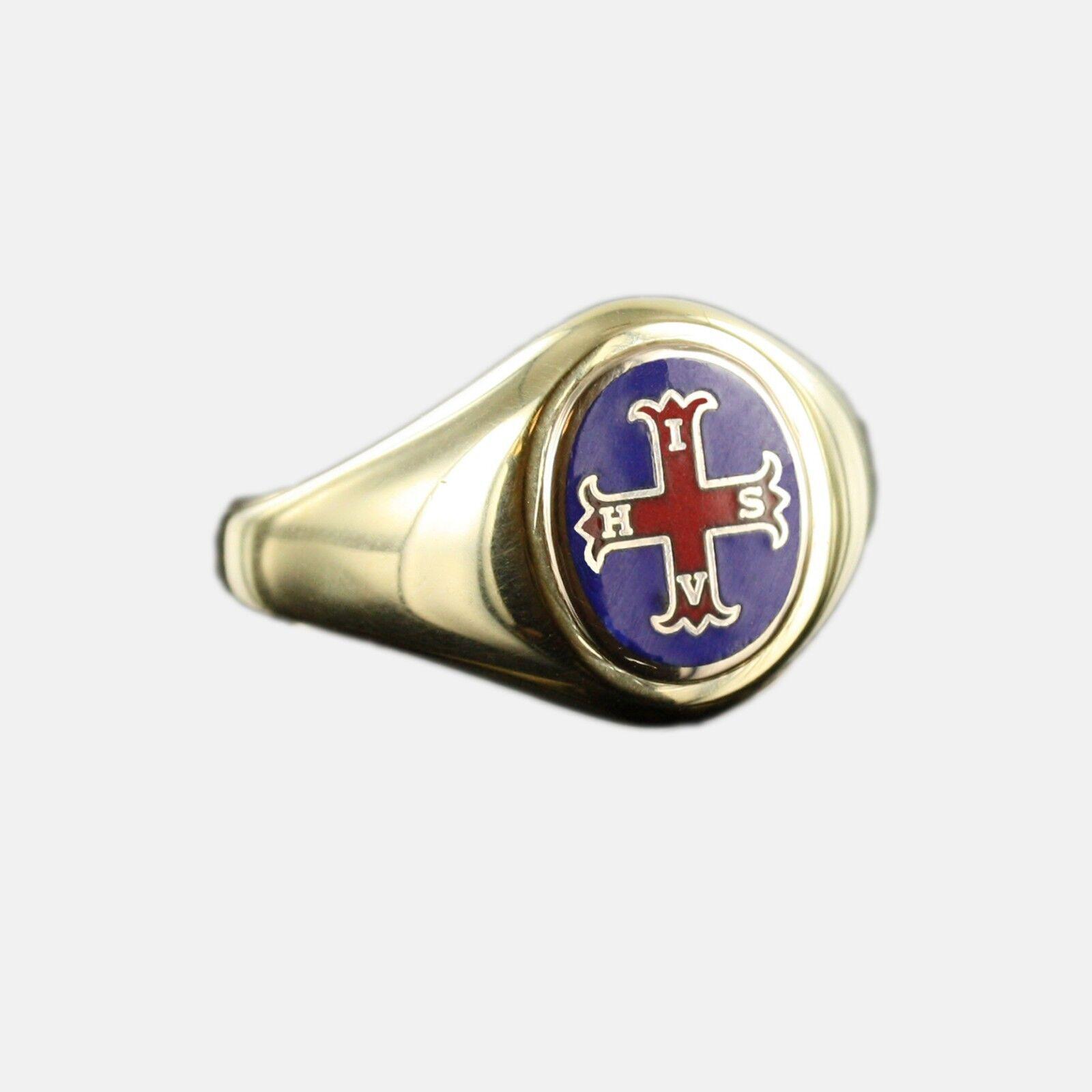 18dcfcd910 Chapado en oro sólido de plata la Cruz Roja de Constantino Masonic anillo  azul - cabeza fija
