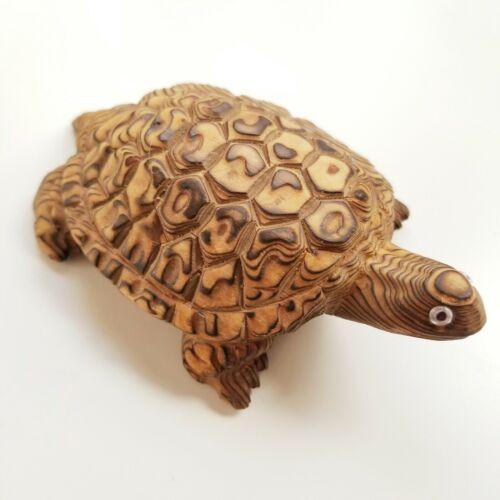 Vintage Hand carved Cryptomeria Wood Turtle Japan Mid Century Figurine