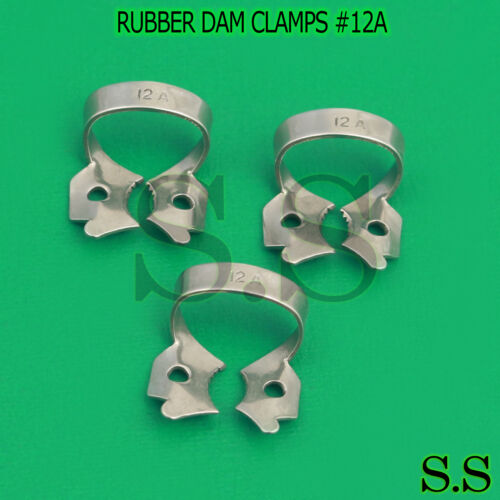 3 ENDODONTIC RUBBER DAM CLAMPS #12A Dental Instruments