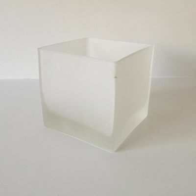 Jamali Garden Frosted Glass Cube Vase - 4.75 in. Sq. Decorative Container