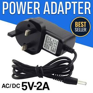 UNIVERSAL 5V POWER ADAPTER 3PIN 2A AC-DC SWITCHING SUPPLY CHARGER UK BLACK