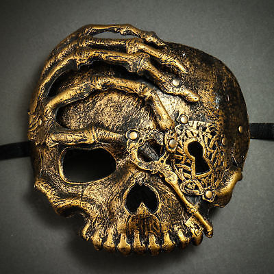 Scary Steampunk Pirate Skull Mask Halloween Costume Mask Masquerade Party - Gold (Pirate Mask Halloween)