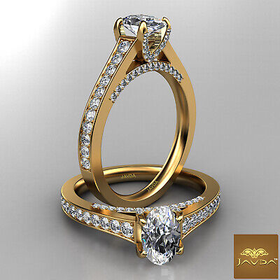 Bridge Accent Oval Diamond Engagement Cathedral Ring GIA Certified F VVS1 1.25Ct 4