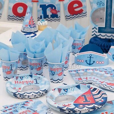 Birthday Boys Blue Party Supplies Tableware Decorations (Boys 1st Birthday Party Supplies)