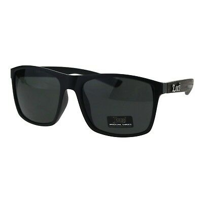 Mens Locs Sunglasses Matted Black Wood Print Square Rectangular (Black Wood Sunglasses)