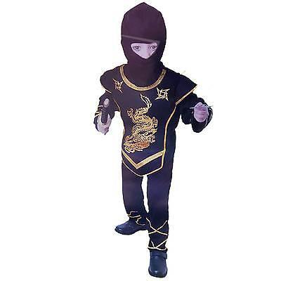 Dragon Ninja Kämpfer Kostüm  4-12 Jahre schwarz/gold Jungen Mädchen Samurai